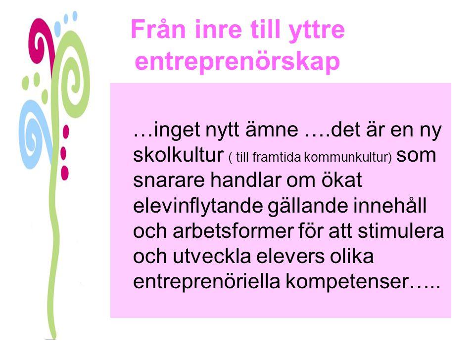 Från inre till yttre entreprenörskap …inget nytt ämne ….det är en ny skolkultur ( till framtida kommunkultur) som snarare handlar om ökat elevinflytan