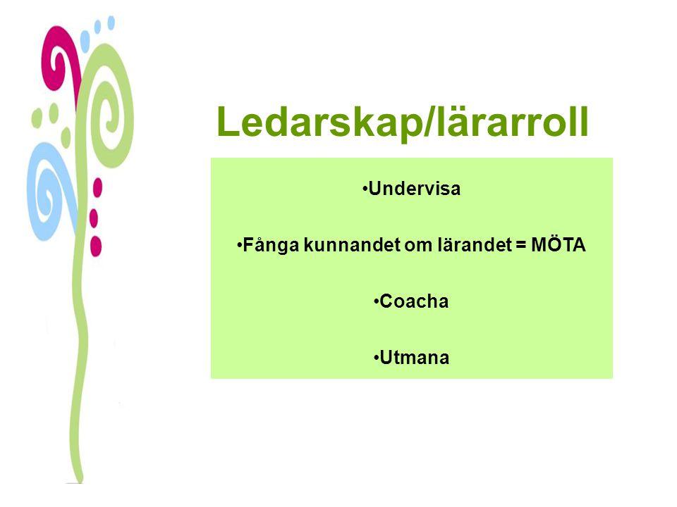 Ledarskap/lärarroll Undervisa Fånga kunnandet om lärandet = MÖTA Coacha Utmana