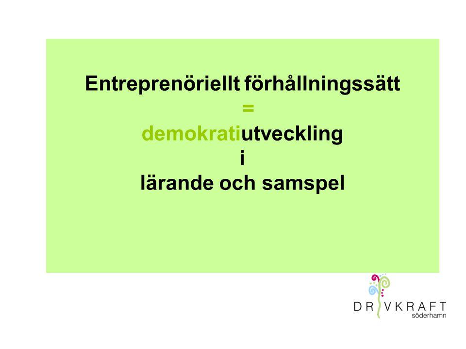 Entreprenöriellt förhållningssätt = demokratiutveckling i lärande och samspel