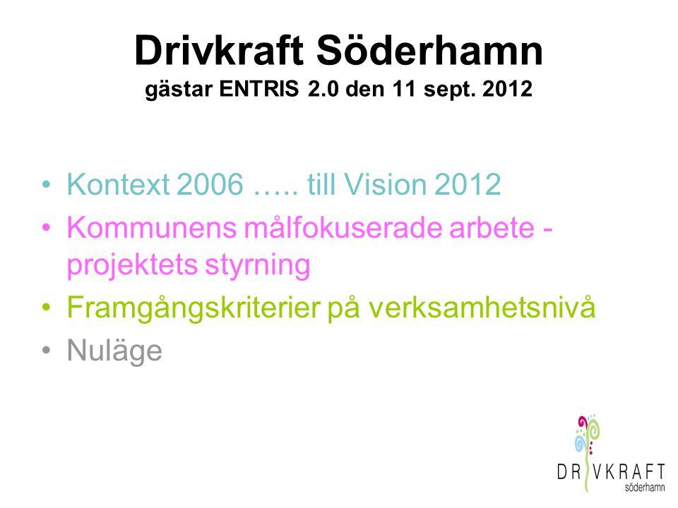 Drivkraft Söderhamn gästar ENTRIS 2.0 den 11 sept. 2012 Kontext 2006 ….. till Vision 2012 Kommunens målfokuserade arbete - projektets styrning Framgån