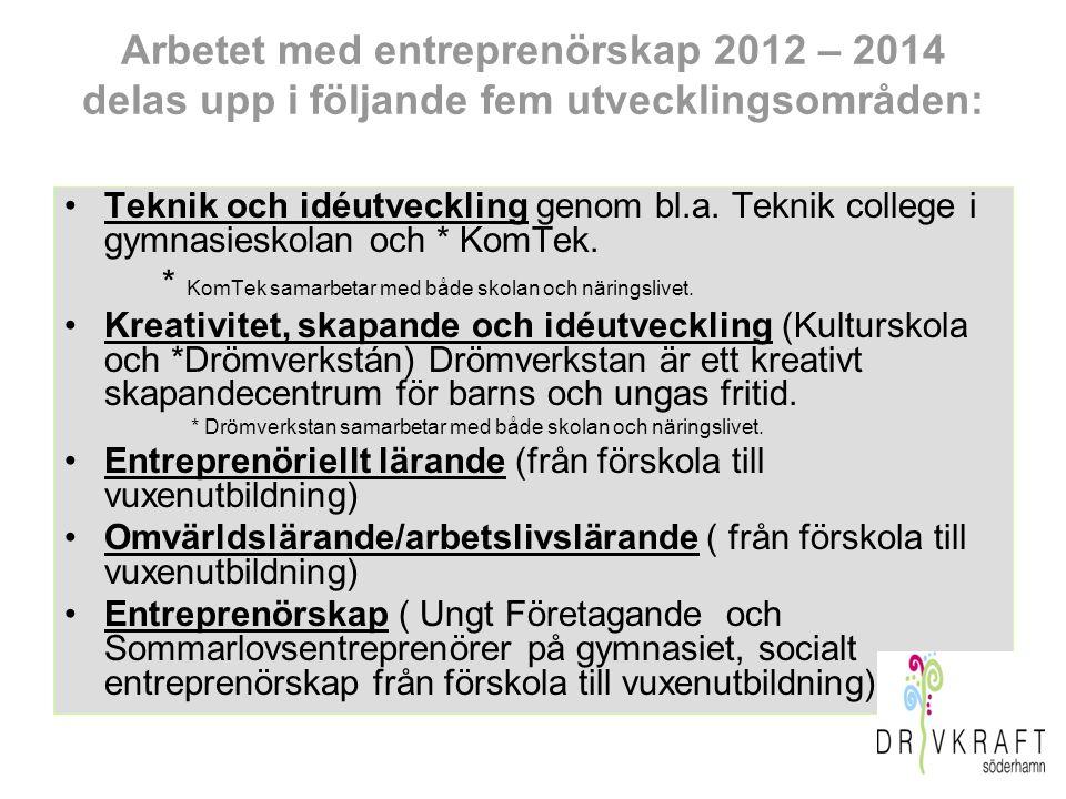 Arbetet med entreprenörskap 2012 – 2014 delas upp i följande fem utvecklingsområden: Teknik och idéutveckling genom bl.a. Teknik college i gymnasiesko