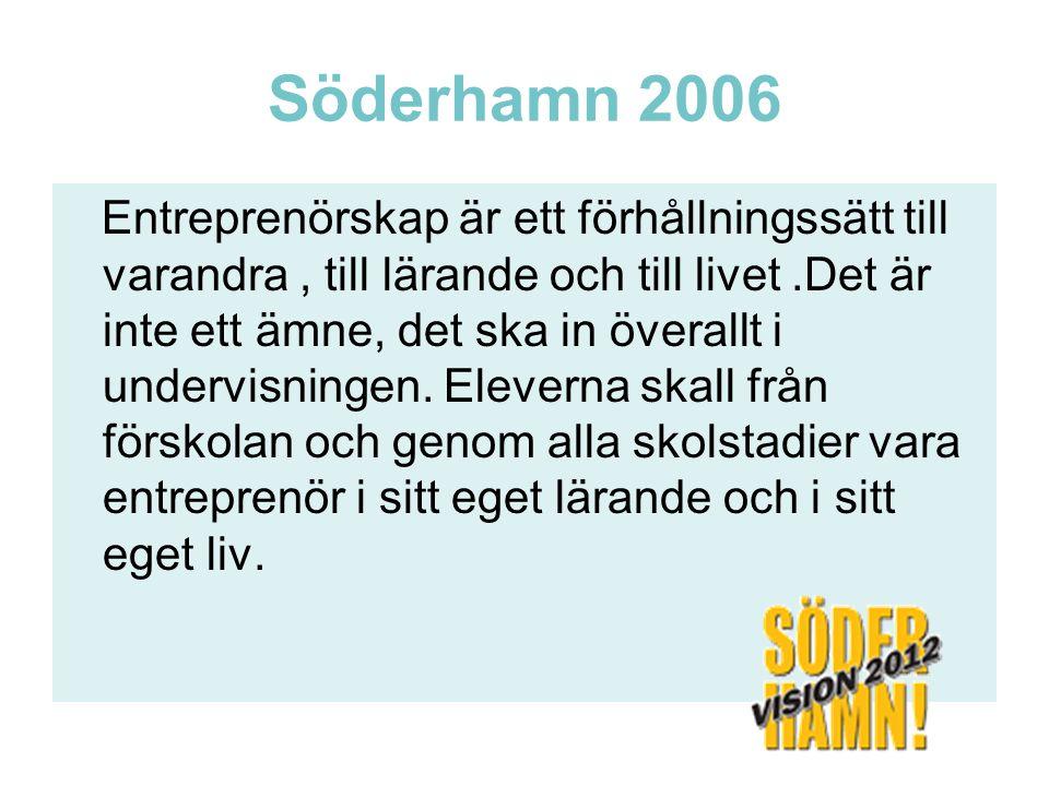 Söderhamn 2006 Entreprenörskap är ett förhållningssätt till varandra, till lärande och till livet.Det är inte ett ämne, det ska in överallt i undervis