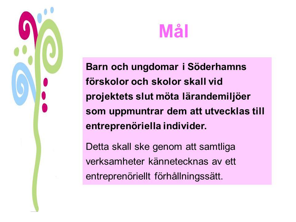 Mål Barn och ungdomar i Söderhamns förskolor och skolor skall vid projektets slut möta lärandemiljöer som uppmuntrar dem att utvecklas till entreprenö