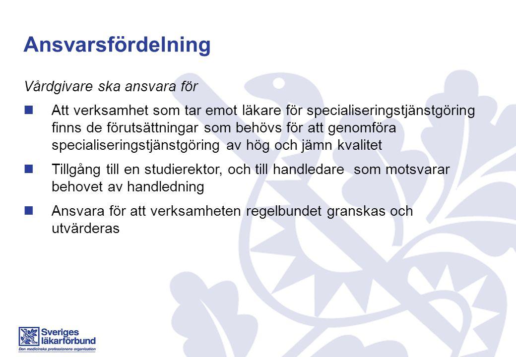 Ansvarsfördelning Vårdgivare ska ansvara för Att verksamhet som tar emot läkare för specialiseringstjänstgöring finns de förutsättningar som behövs fö