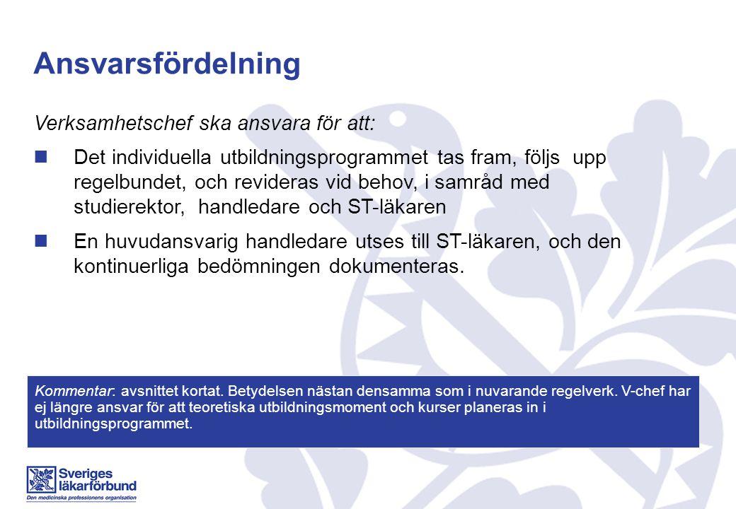 Ansvarsfördelning Verksamhetschef ska ansvara för att: Det individuella utbildningsprogrammet tas fram, följs upp regelbundet, och revideras vid behov