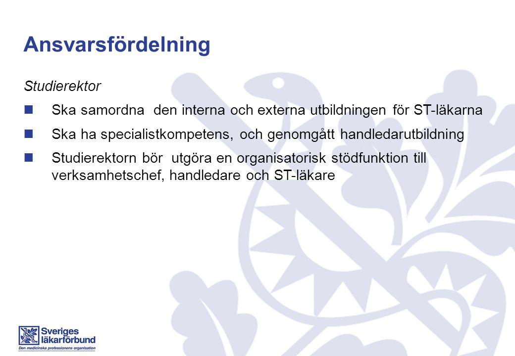 Ansvarsfördelning Studierektor Ska samordna den interna och externa utbildningen för ST-läkarna Ska ha specialistkompetens, och genomgått handledarutb