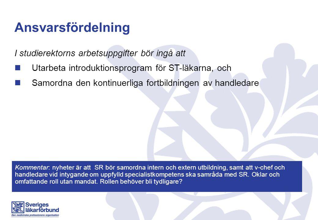Ansvarsfördelning I studierektorns arbetsuppgifter bör ingå att Utarbeta introduktionsprogram för ST-läkarna, och Samordna den kontinuerliga fortbildn