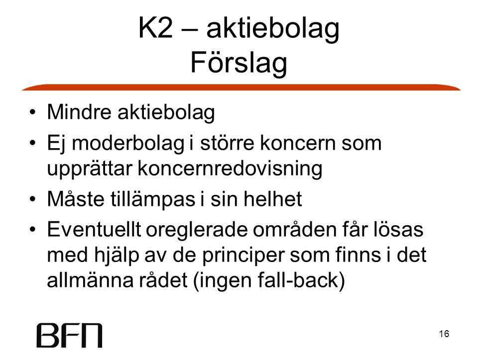 16 K2 – aktiebolag Förslag Mindre aktiebolag Ej moderbolag i större koncern som upprättar koncernredovisning Måste tillämpas i sin helhet Eventuellt o