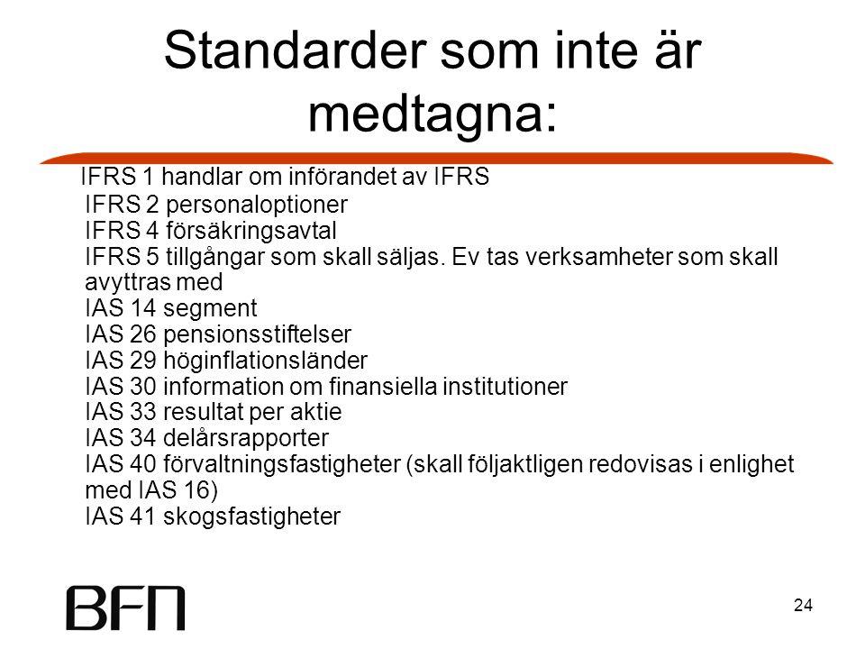 24 Standarder som inte är medtagna: IFRS 1 handlar om införandet av IFRS IFRS 2 personaloptioner IFRS 4 försäkringsavtal IFRS 5 tillgångar som skall säljas.