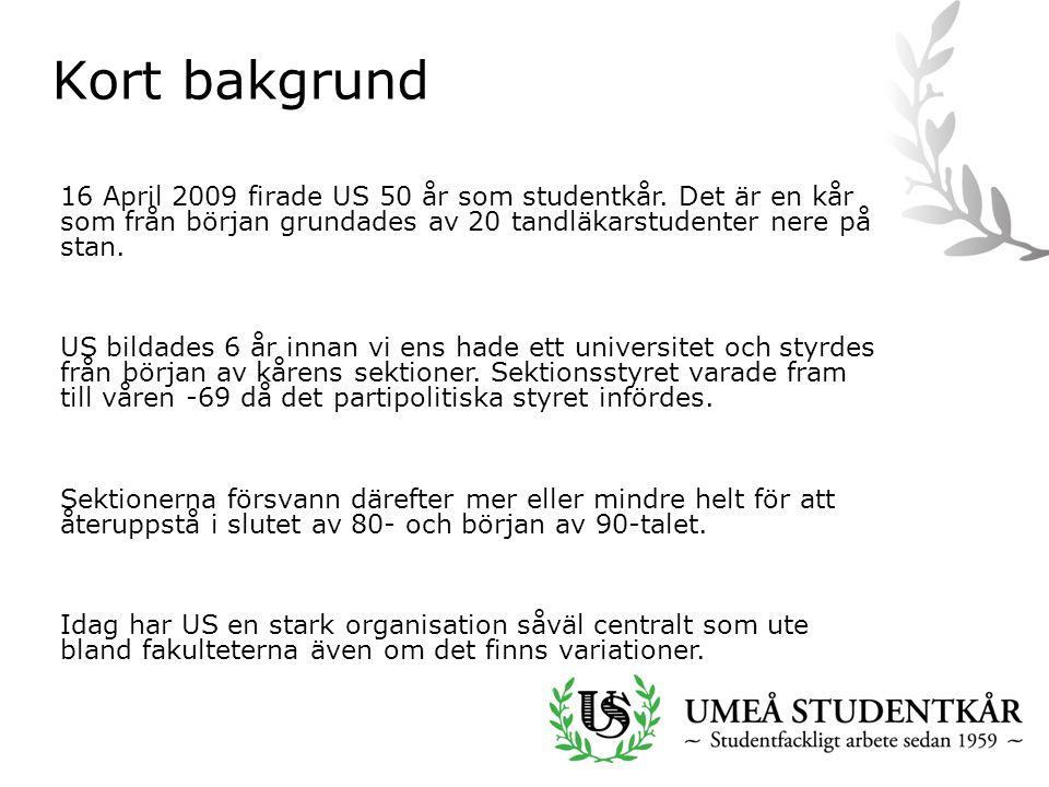 Kort bakgrund 16 April 2009 firade US 50 år som studentkår.