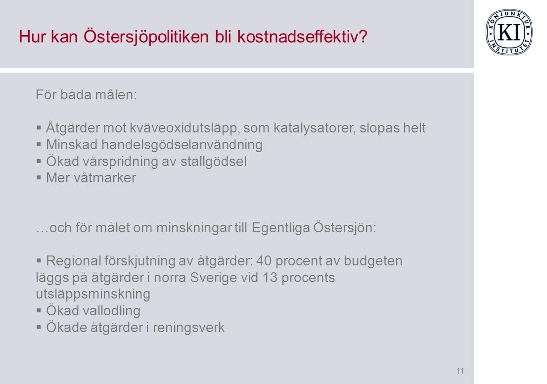 11 Hur kan Östersjöpolitiken bli kostnadseffektiv.