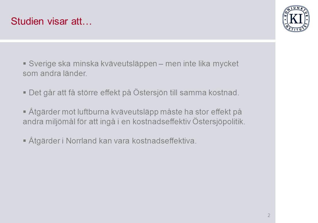 2 Studien visar att…  Sverige ska minska kväveutsläppen – men inte lika mycket som andra länder.