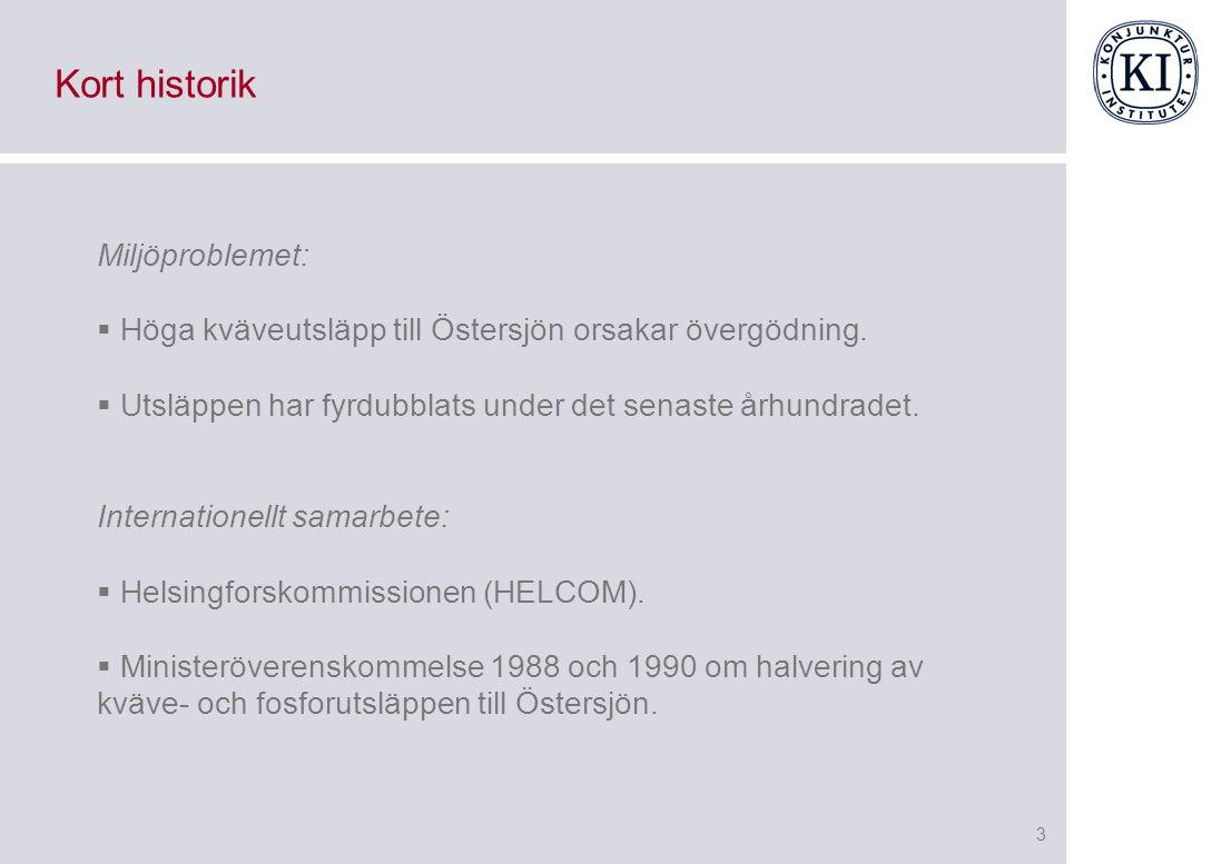 3 Kort historik Miljöproblemet:  Höga kväveutsläpp till Östersjön orsakar övergödning.