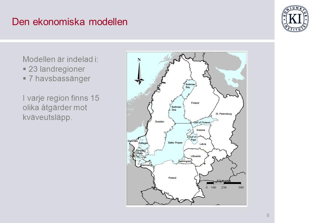 6 Den ekonomiska modellen Modellen är indelad i:  23 landregioner  7 havsbassänger I varje region finns 15 olika åtgärder mot kväveutsläpp.