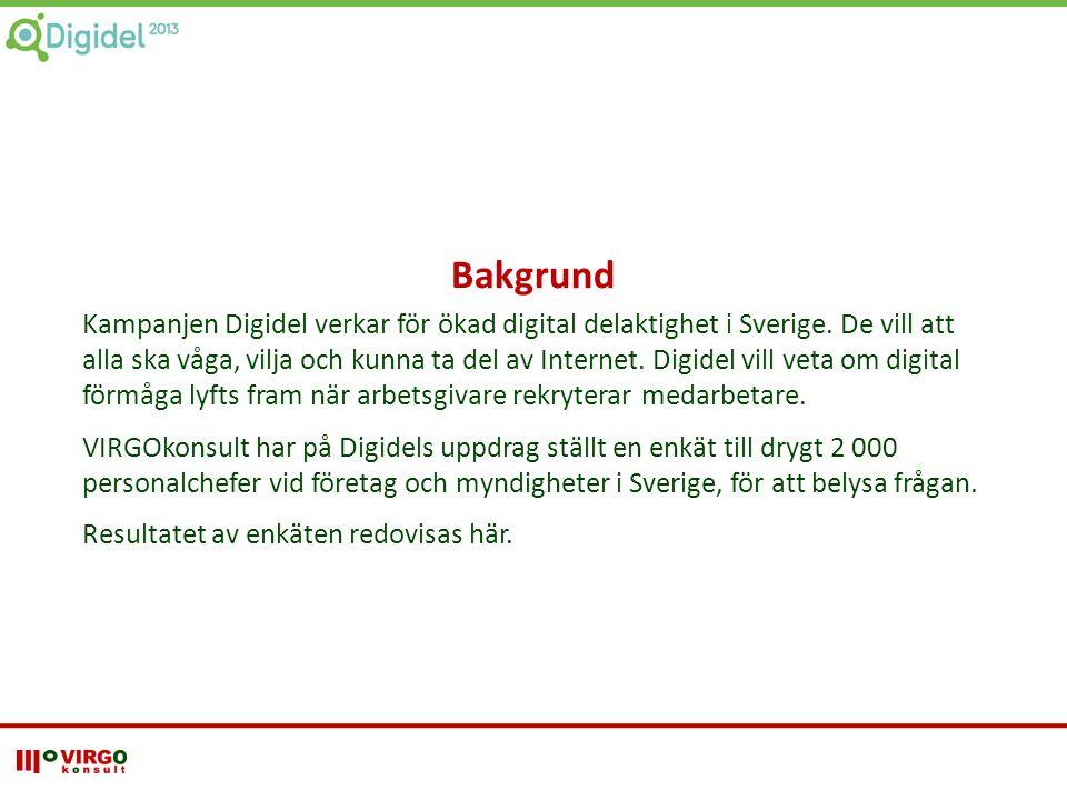Bakgrund Kampanjen Digidel verkar för ökad digital delaktighet i Sverige. De vill att alla ska våga, vilja och kunna ta del av Internet. Digidel vill