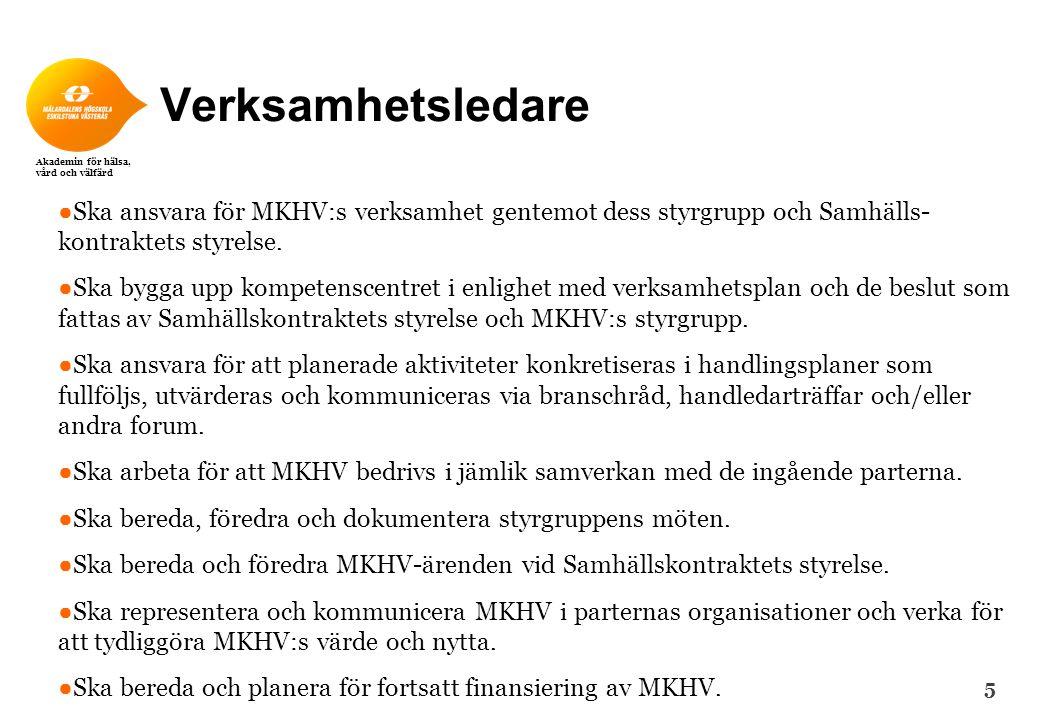 Akademin för hälsa, vård och välfärd Verksamhetsledare ● Ska ansvara för MKHV:s verksamhet gentemot dess styrgrupp och Samhälls- kontraktets styrelse.