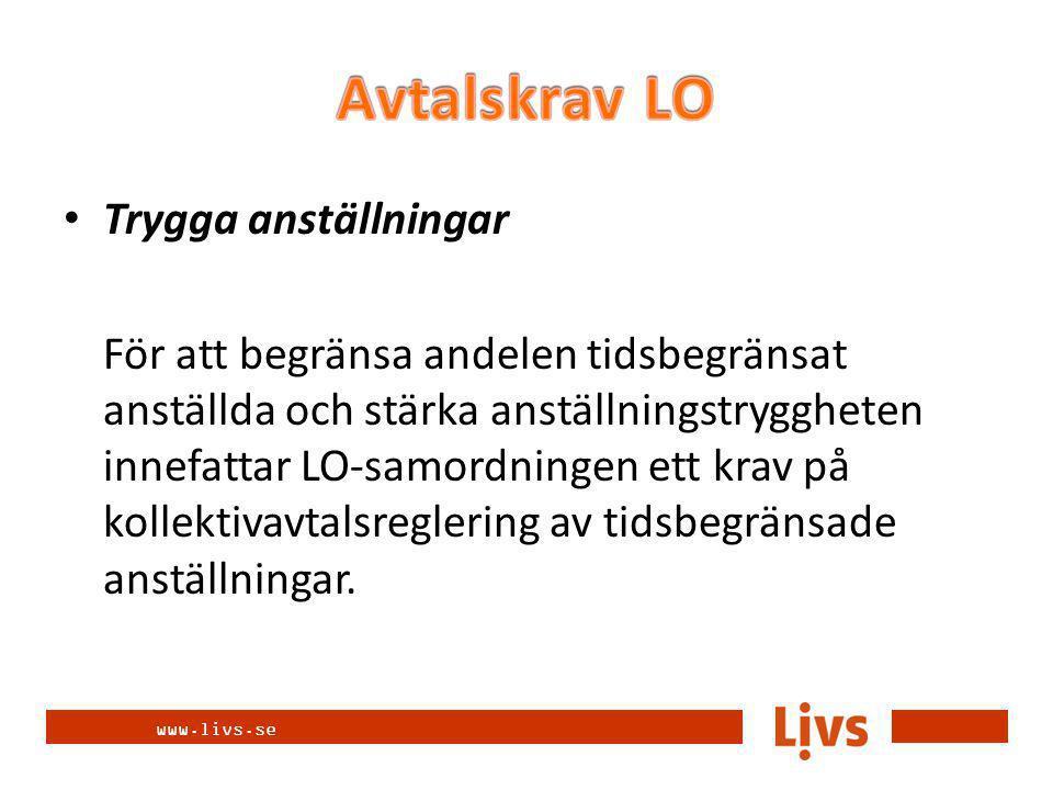 www.livs.se Trygga anställningar För att begränsa andelen tidsbegränsat anställda och stärka anställningstryggheten innefattar LO-samordningen ett krav på kollektivavtalsreglering av tidsbegränsade anställningar.