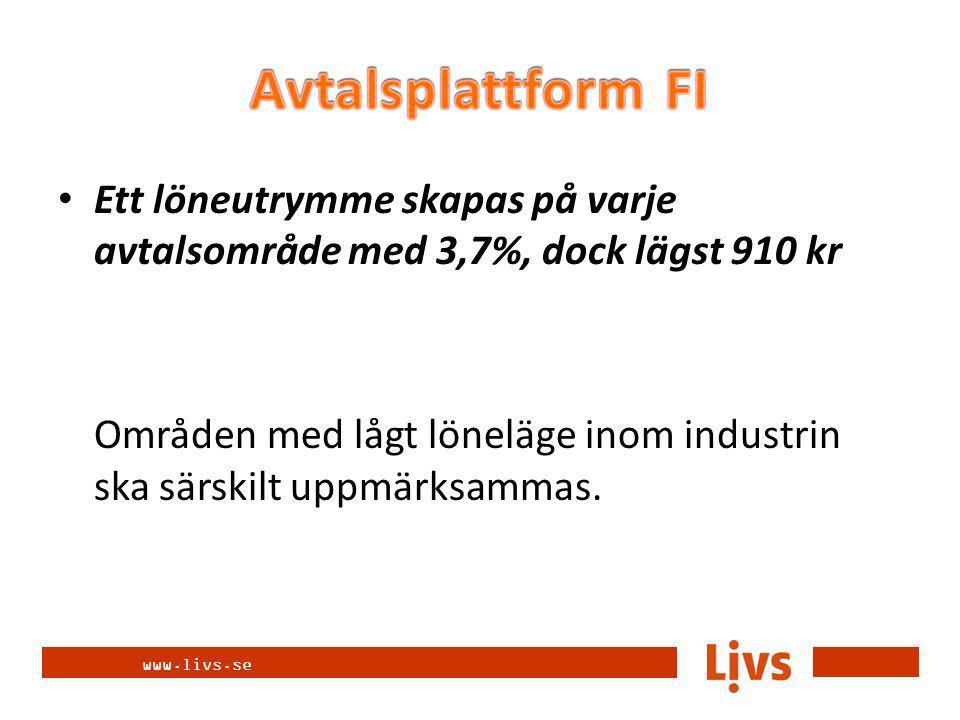 www.livs.se Ett löneutrymme skapas på varje avtalsområde med 3,7%, dock lägst 910 kr Områden med lågt löneläge inom industrin ska särskilt uppmärksammas.