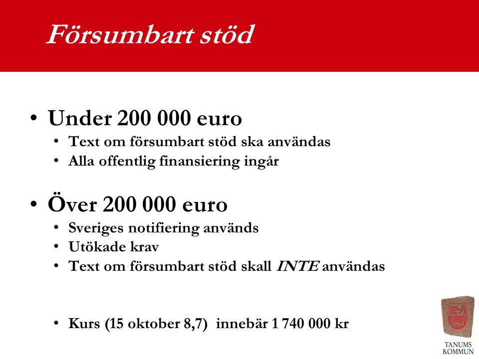 Försumbart stöd Under 200 000 euro Text om försumbart stöd ska användas Alla offentlig finansiering ingår Över 200 000 euro Sveriges notifiering använ