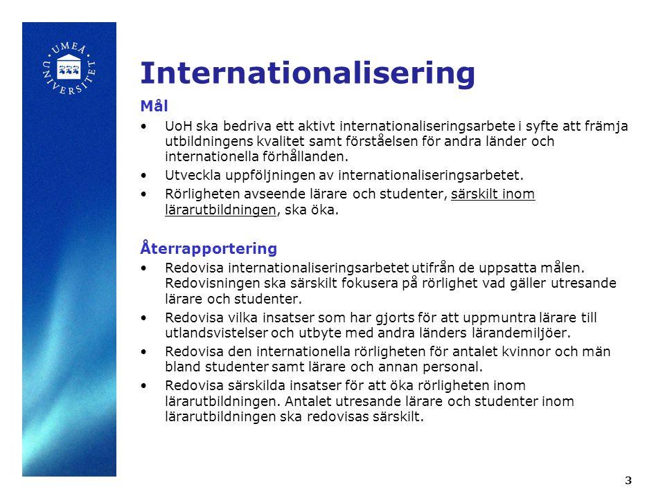 3 Internationalisering Mål UoH ska bedriva ett aktivt internationaliseringsarbete i syfte att främja utbildningens kvalitet samt förståelsen för andra länder och internationella förhållanden.