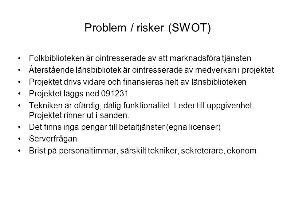 Problem / risker (SWOT) Folkbiblioteken är ointresserade av att marknadsföra tjänsten Återstående länsbibliotek är ointresserade av medverkan i projek
