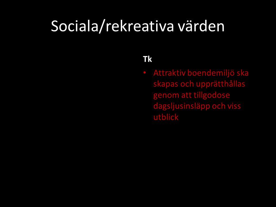 Sociala/rekreativa värden Tk Attraktiv boendemiljö ska skapas och upprätthållas genom att tillgodose dagsljusinsläpp och viss utblick