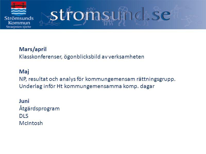 Mars/april Klasskonferenser, ögonblicksbild av verksamheten Maj NP, resultat och analys för kommungemensam rättningsgrupp.
