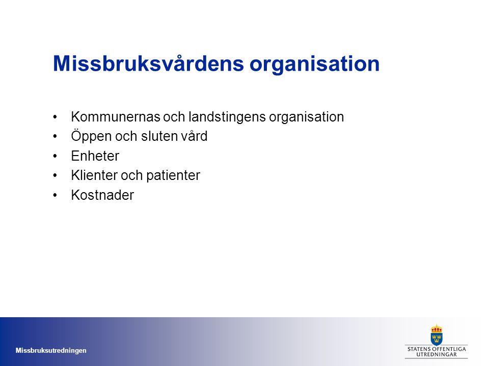 Missbruksutredningen Missbruksvårdens organisation Kommunernas och landstingens organisation Öppen och sluten vård Enheter Klienter och patienter Kost