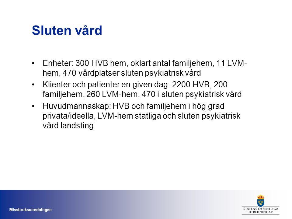 Missbruksutredningen Sluten vård Enheter: 300 HVB hem, oklart antal familjehem, 11 LVM- hem, 470 vårdplatser sluten psykiatrisk vård Klienter och pati