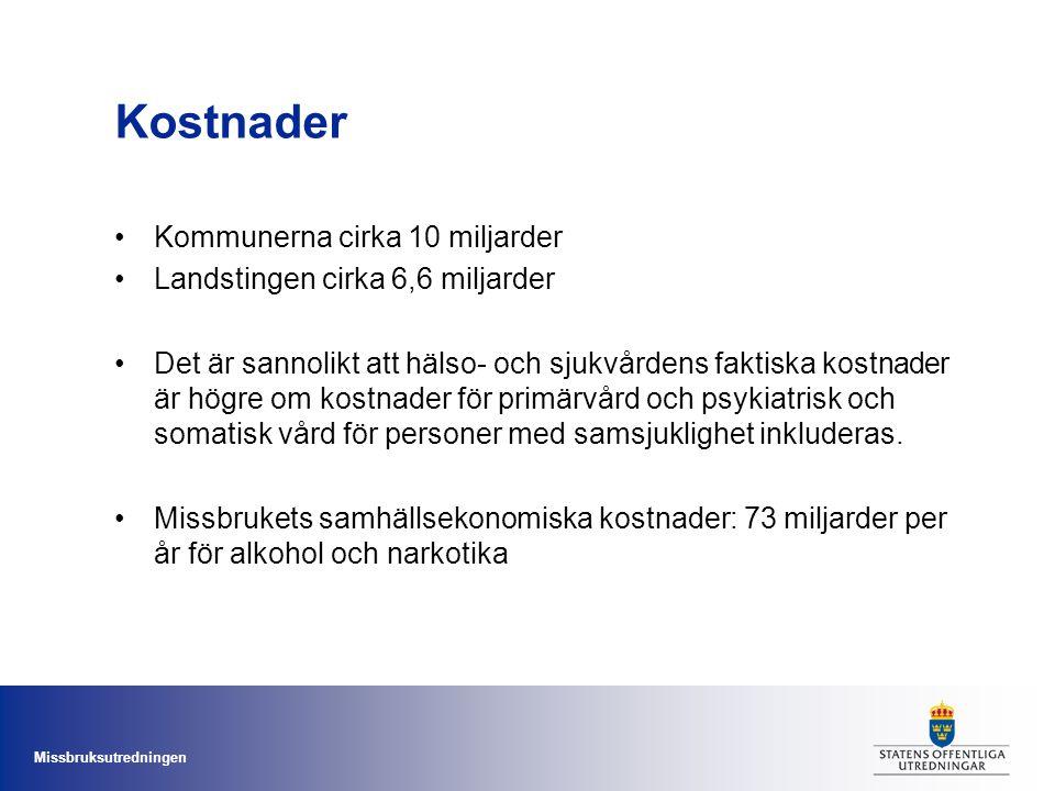 Missbruksutredningen Kostnader Kommunerna cirka 10 miljarder Landstingen cirka 6,6 miljarder Det är sannolikt att hälso- och sjukvårdens faktiska kost