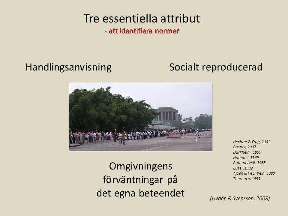HandlingsanvisningSocialt reproducerad Omgivningens förväntningar på det egna beteendet Tre essentiella attribut att identifiera normer - att identifi