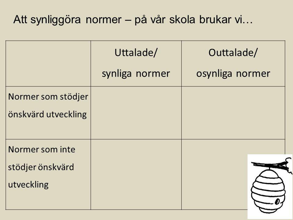 Uttalade/ synliga normer Outtalade/ osynliga normer Normer som stödjer önskvärd utveckling Normer som inte stödjer önskvärd utveckling Att synliggöra