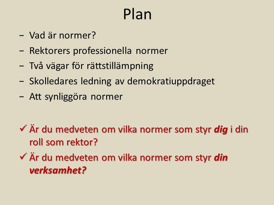 Plan −Vad är normer.