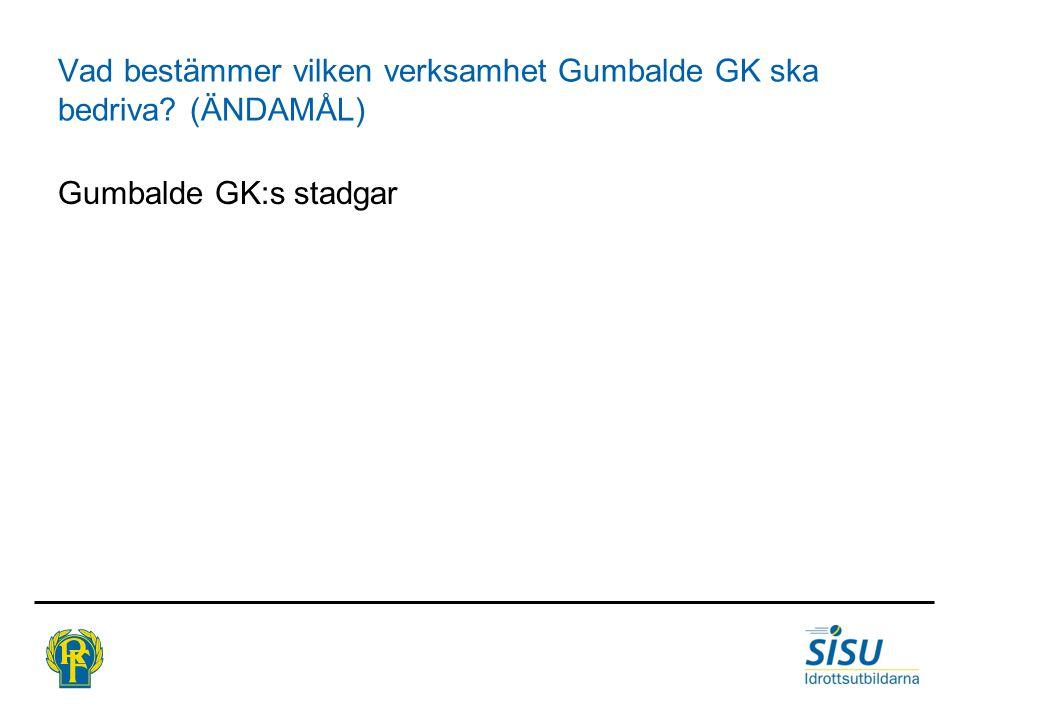Vad bestämmer vilken verksamhet Gumbalde GK ska bedriva? (ÄNDAMÅL) Gumbalde GK:s stadgar