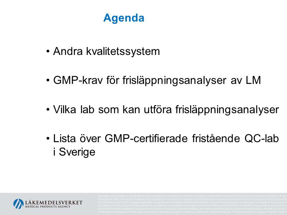 Agenda Andra kvalitetssystem GMP-krav för frisläppningsanalyser av LM Vilka lab som kan utföra frisläppningsanalyser Lista över GMP-certifierade frist