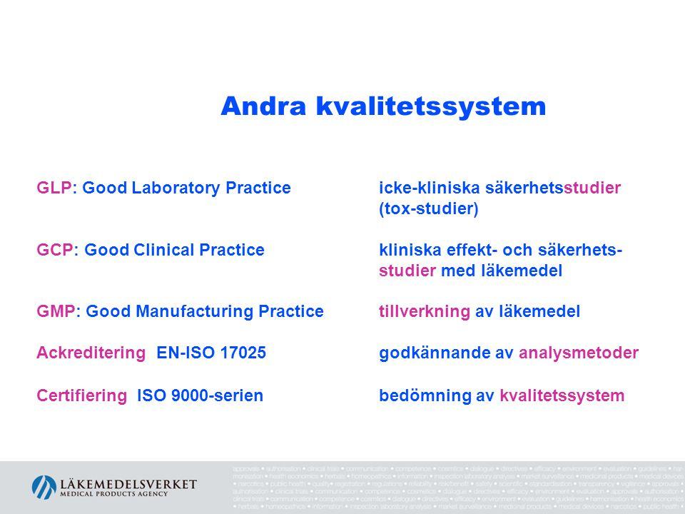 Andra kvalitetssystem GLP: Good Laboratory Practice icke-kliniska säkerhetsstudier (tox-studier) GCP: Good Clinical Practice kliniska effekt- och säke