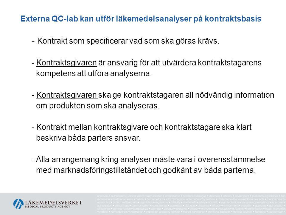 Externa QC-lab kan utför läkemedelsanalyser på kontraktsbasis - Kontrakt som specificerar vad som ska göras krävs. - Kontraktsgivaren är ansvarig för