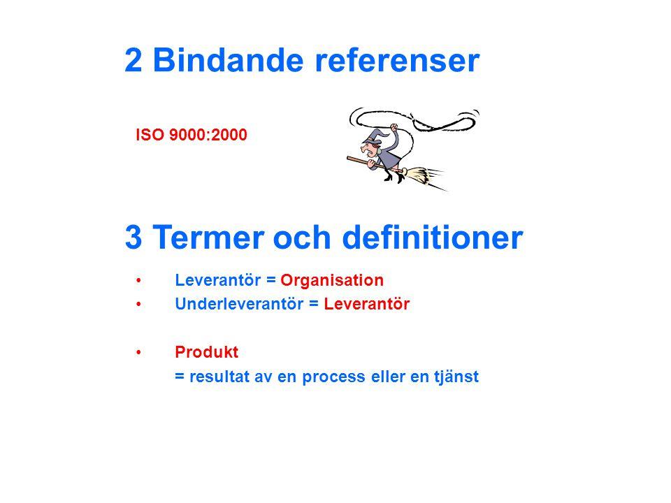 2 Bindande referenser ISO 9000:2000 Leverantör = Organisation Underleverantör = Leverantör Produkt = resultat av en process eller en tjänst 3 Termer och definitioner