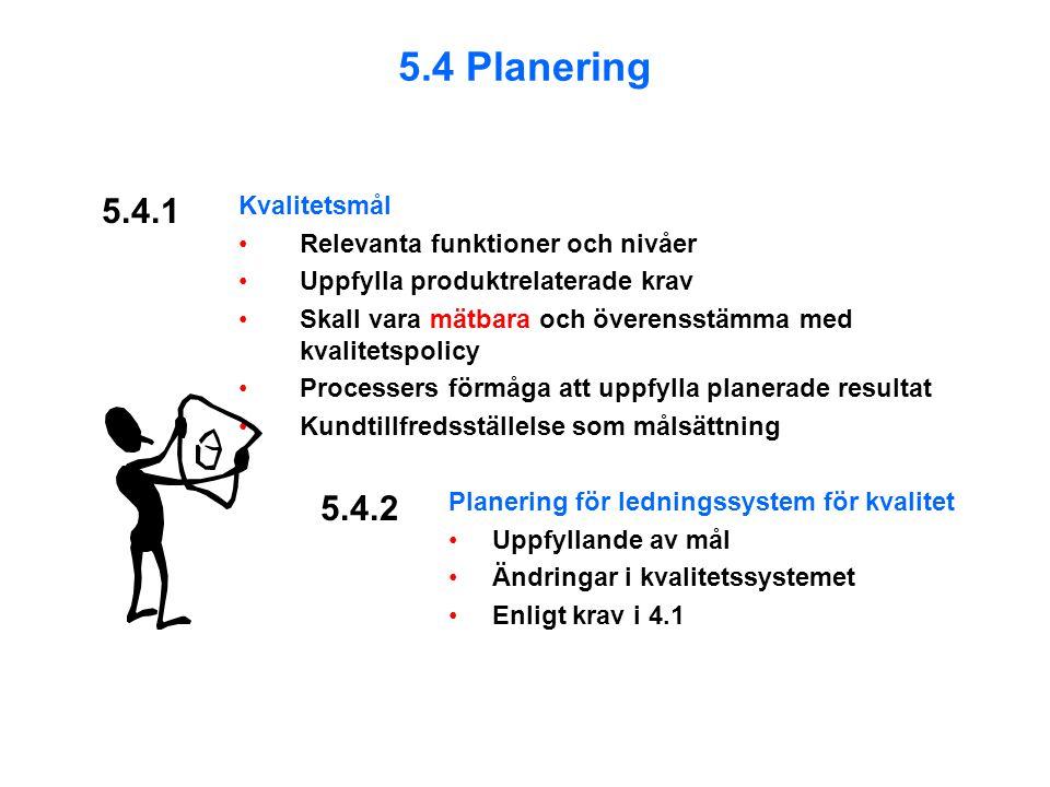 5.4.1 Kvalitetsmål Relevanta funktioner och nivåer Uppfylla produktrelaterade krav Skall vara mätbara och överensstämma med kvalitetspolicy Processers förmåga att uppfylla planerade resultat Kundtillfredsställelse som målsättning Planering för ledningssystem för kvalitet Uppfyllande av mål Ändringar i kvalitetssystemet Enligt krav i 4.1 5.4.2 5.4 Planering