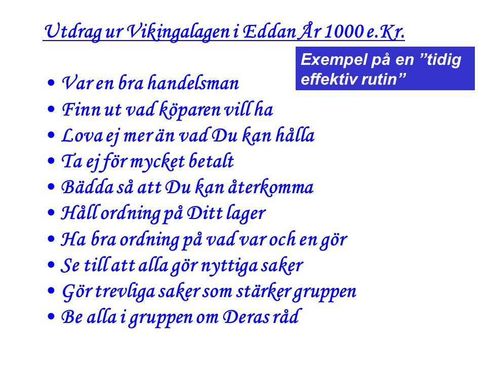 Utdrag ur Vikingalagen i Eddan År 1000 e.Kr.