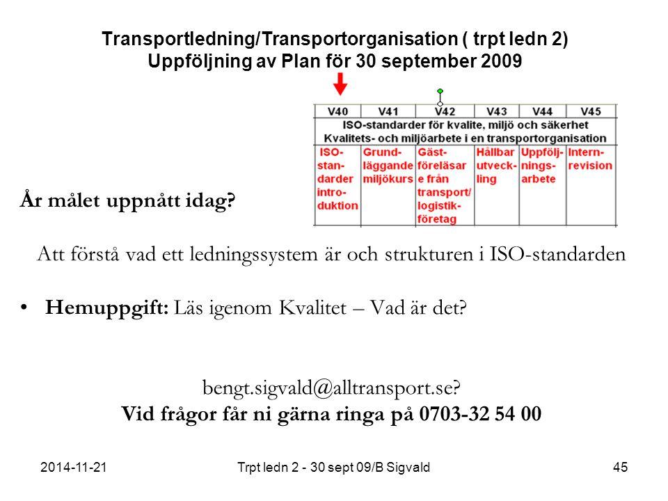 2014-11-21Trpt ledn 2 - 30 sept 09/B Sigvald45 Transportledning/Transportorganisation ( trpt ledn 2) Uppföljning av Plan för 30 september 2009 År målet uppnått idag.