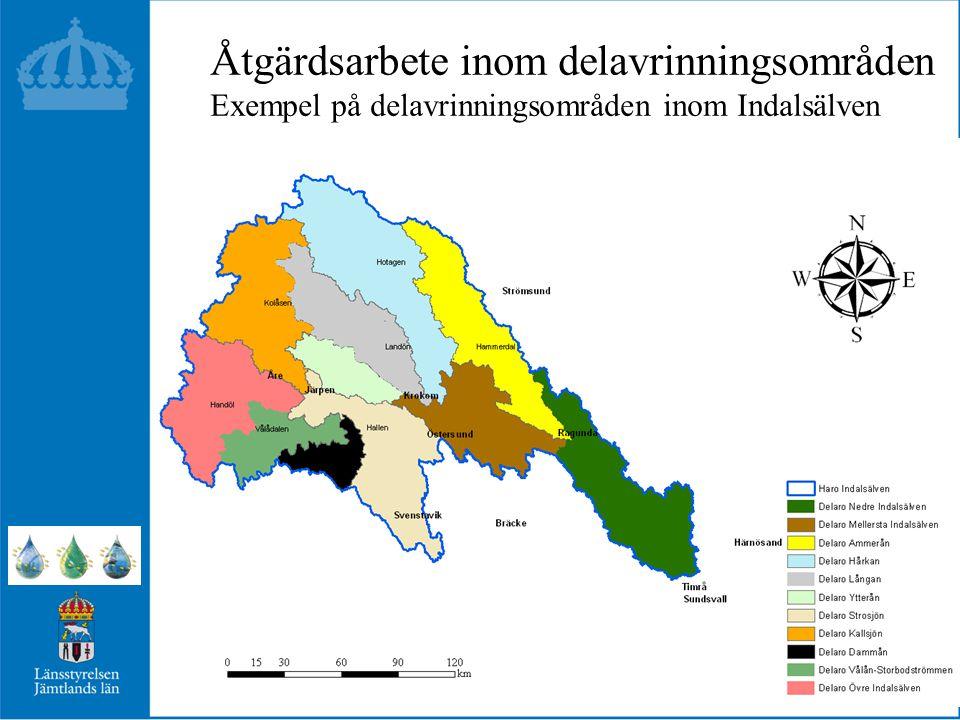 Åtgärdsarbete inom delavrinningsområden Exempel på delavrinningsområden inom Indalsälven