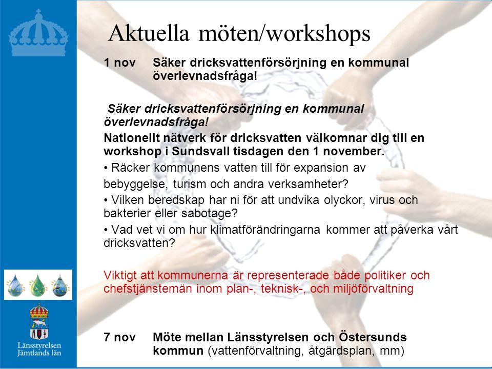 Aktuella möten/workshops 1 novSäker dricksvattenförsörjning en kommunal överlevnadsfråga.