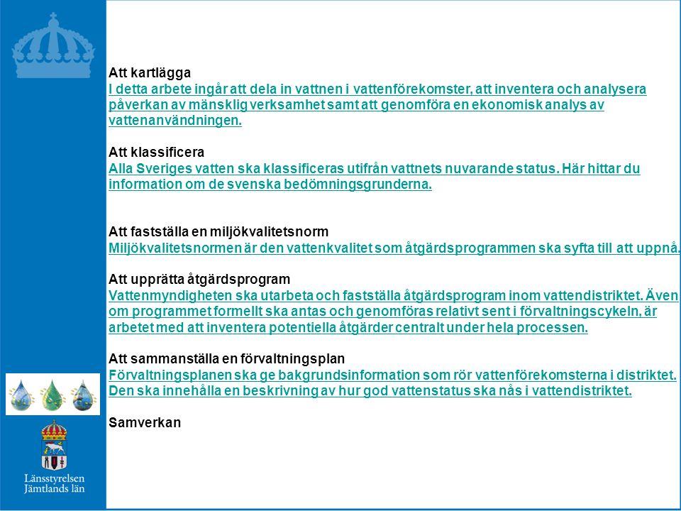 Fem distrikt Länsstyrelsen i Norrbottens län: Bottenvikens vattendistrikt Länsstyrelsen i Västernorrlands län: Bottenhavets vattendistrikt Länsstyrelsen i Västmanlands län: Norra Östersjöns vattendistrikt Länsstyrelsen i Kalmar län: Södra Östersjöns vattendistrikt Länsstyrelsen i Västra Götalands län: Västerhavets vattendistrikt Ansvaret delas av många Vattenmyndighetens roll är framförallt samordnande.