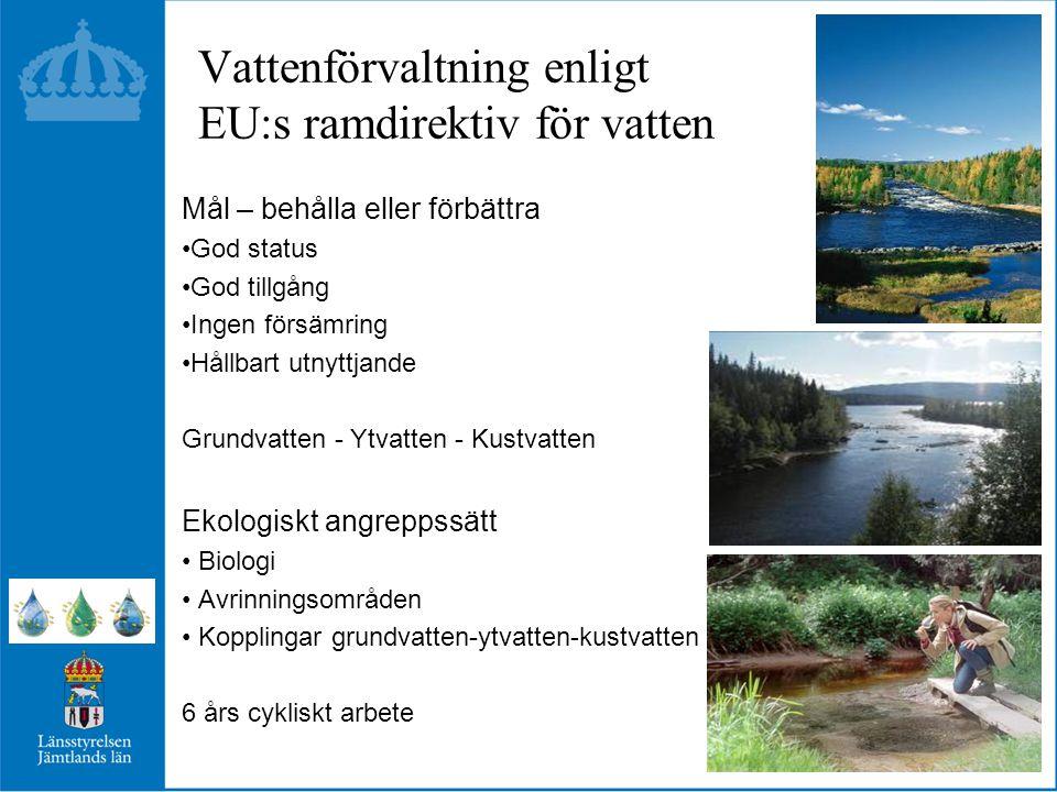 Vattenförvaltning enligt EU:s ramdirektiv för vatten Mål – behålla eller förbättra God status God tillgång Ingen försämring Hållbart utnyttjande Grundvatten - Ytvatten - Kustvatten Ekologiskt angreppssätt Biologi Avrinningsområden Kopplingar grundvatten-ytvatten-kustvatten 6 års cykliskt arbete