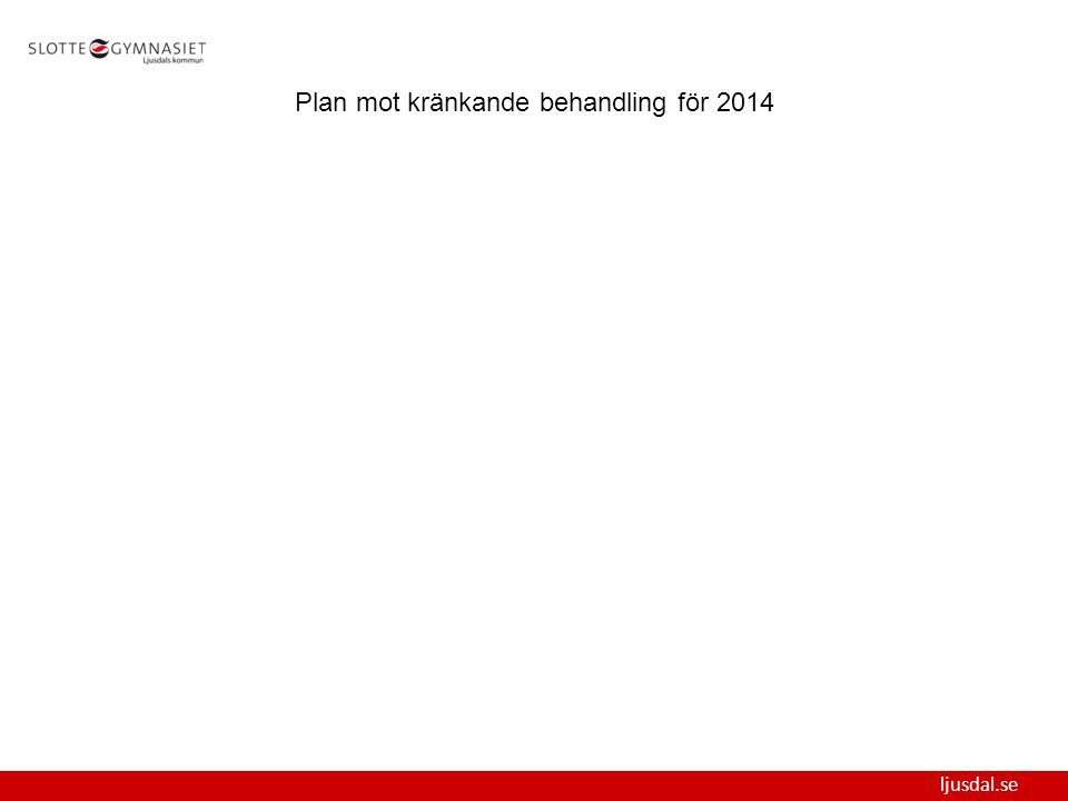ljusdal.se Plan mot kränkande behandling för 2014