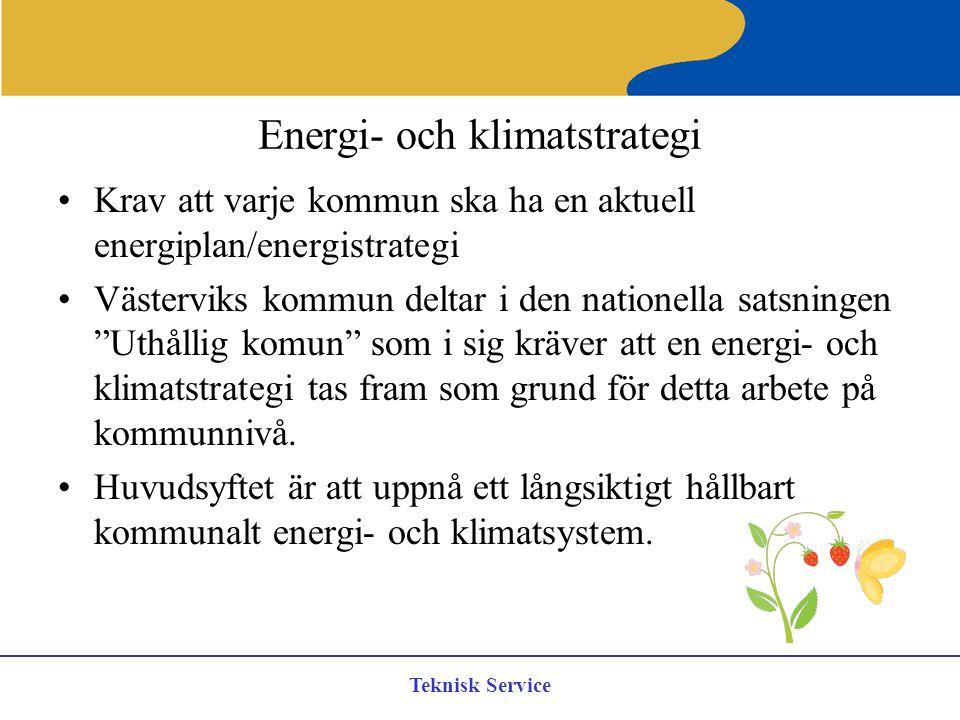 Teknisk Service Energi- och klimatstrategi Krav att varje kommun ska ha en aktuell energiplan/energistrategi Västerviks kommun deltar i den nationella