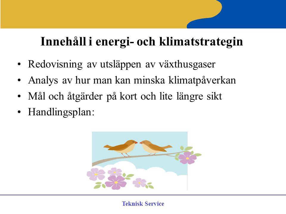 Teknisk Service Innehåll i energi- och klimatstrategin Redovisning av utsläppen av växthusgaser Analys av hur man kan minska klimatpåverkan Mål och åt