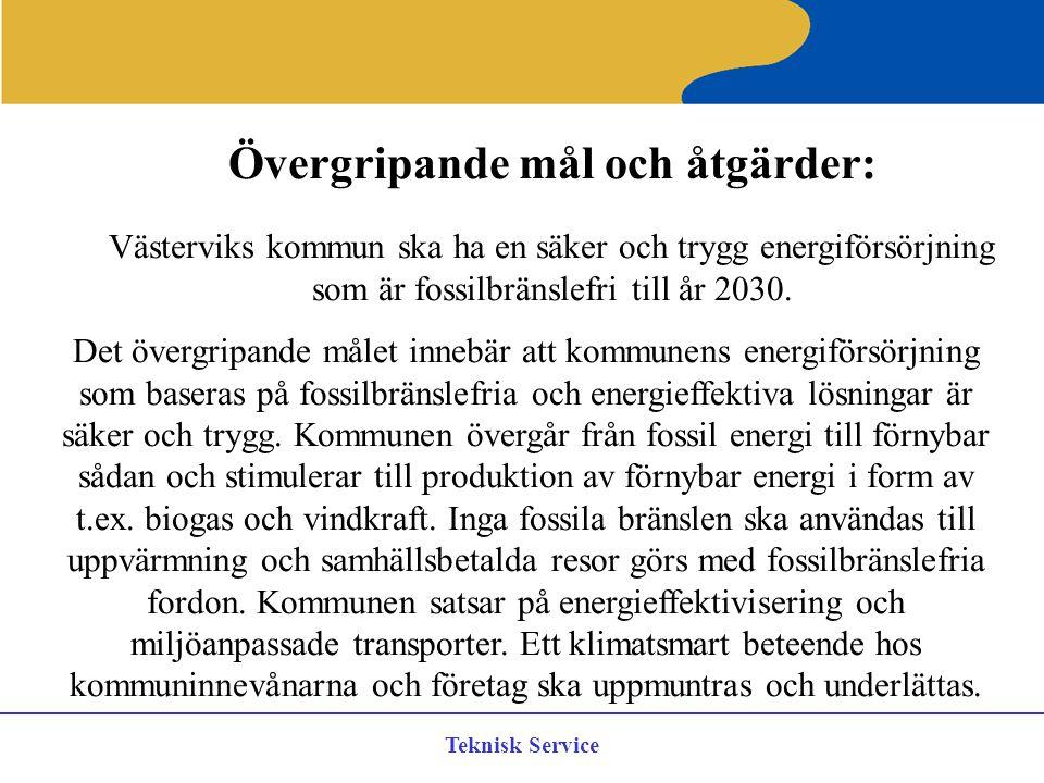 Teknisk Service Övergripande mål och åtgärder: Västerviks kommun ska ha en säker och trygg energiförsörjning som är fossilbränslefri till år 2030. Det