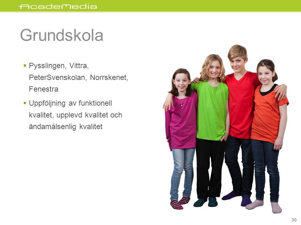 Grundskola  Pysslingen, Vittra, PeterSvenskolan, Norrskenet, Fenestra  Uppföljning av funktionell kvalitet, upplevd kvalitet och ändamålsenlig kvalitet 30